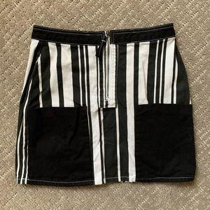 BDG Denim Mini Skirt - Ruby Striped Zip Up Skirt M